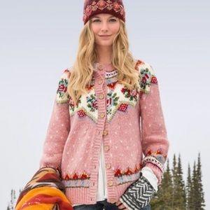 Sundance cottage Irish rose pink wool cardigan